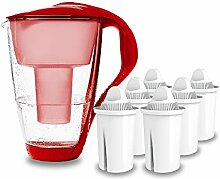 PearlCo - Glas-Wasserfilter (rot) mit 6 classic