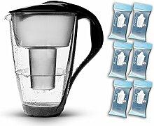 PearlCo Glas-Wasserfilter (schwarz) - Halbjahres-Paket inkl. 6 classic Filterkartuschen (kompatibel mit Brita classic)