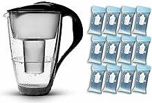 PearlCo Glas-Wasserfilter (schwarz) - Jahres-Paket inkl. 12 classic Filterkartuschen (kompatibel mit Brita classic)