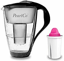 PearlCo - Glas-Wasserfilter (schwarz) mit 1
