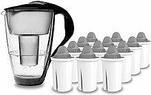 PearlCo - Glas-Wasserfilter (schwarz) mit 12