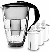 PearlCo - Glas-Wasserfilter (schwarz) mit 3