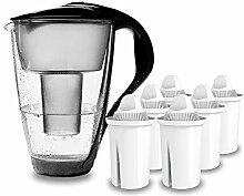 PearlCo - Glas-Wasserfilter (schwarz) mit 6