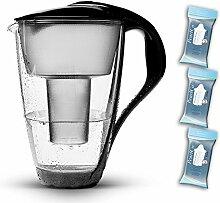 PearlCo Glas-Wasserfilter (schwarz) Starter-Paket inkl. 3 classic Filterkartuschen (kompatibel mit Brita Classic)