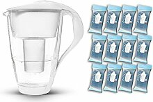 PearlCo Glas-Wasserfilter (weiß) - Jahres-Paket inkl. 12 classic Filterkartuschen (kompatibel mit Brita classic)