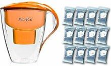 PearlCo Wasserfilter Astra (orange) - Jahres-Paket inkl. 12 unimax Filterkartuschen (kompatibel mit Brita Maxtra)