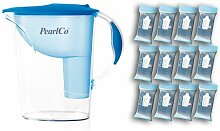 PearlCo Wasserfilter Standard (hellblau) inkl. 12 classic Filterkartuschen (kompatibel mit Brita Classic)