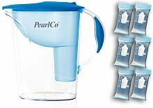 PearlCo Wasserfilter Standard (hellblau) inkl. 6 classic Filterkartuschen (kompatibel mit Brita Classic)