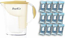 PearlCo Wasserfilter Standard (vanille) inkl. 12 classic Filterkartuschen (kompatibel mit Brita Classic)