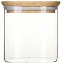 Pebbly PKV-005 Glasdose mit Deckel aus Bambus, 800