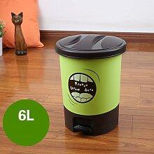 Pedal Trash Haushalt WC Küche Wohnzimmer Continental Große Kunststoff Ideen Mülleimer ( Farbe : Grün , größe : 6l )