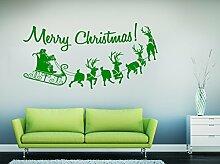 PeelitStickit VinChrAma105 Frohe Weihnachten mit Santa-Aufkleber, grün