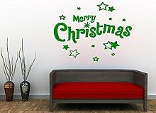 PeelitStickit VinChrAma94 Frohe Weihnachten Text Aufkleber mit n Sterne, grün