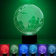 Pegasus 1.5W 7 Farbwechsel 3D Illusion Globe LED Nachtlicht Schreibtisch Tischlampe Dekoration