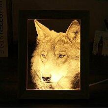 Pegasus LED-3D Wolf-hölzerne Foto-Rahmen-Nachtlicht-Tabellen-Schreibtisch-Lampen-Dekoration