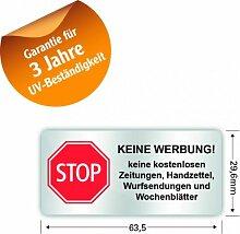 peha® Briefkasten Aufkleber 'STOP KEINE WERBUNG!'(64*30 mm) mit 3 Jahren UV-Garantie, Wetter&Schmutz beständig (kein Papier)