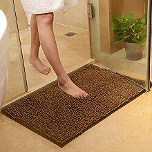 PEIWENIN-Bad Tür Matratze Bad Nippel Matte Schlafzimmer Wohnzimmer Wasser Saugfuß Pad Tür Matte, 80 * 160cm, Braun