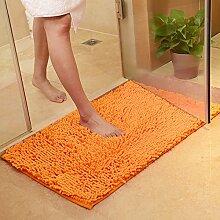PEIWENIN-Bad Tür Matratze Bad Nippel Matte Schlafzimmer Wohnzimmer Wasser Saugfuß Pad Tür Matte, 80 * 120cm, Orange
