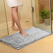 PEIWENIN-Bad Tür Matratze Bad Nippel Matte Schlafzimmer Wohnzimmer Wasser Saugfuß Pad Tür Matte, 80 * 120cm, grau