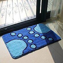PEIWENIN-Bad Wasserdichte Slip Pad Tür Pad Küche Toiletten Toilettenpapier Matten Haushalt Matten, 60 * 90cm, Blue Footprints