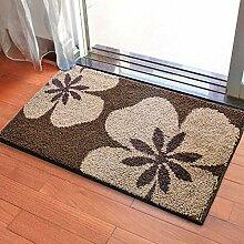 PEIWENIN-Badezimmer Anti-Rutsch-Kissen Saug-Wasser-Kissen Bad Tür-Saug-Saugmatte Haushalt Wohnzimmer Matte, 45 * 65cm, Blumen braun