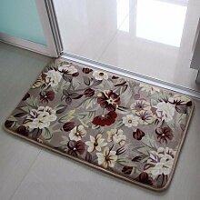 PEIWENIN-Badezimmer Badezimmer saugfähige Küche rutschfeste Matten Türmatten Schlafzimmer Türmatten Haus Tür Matten, 60 * 160CM, Europäische Blumen