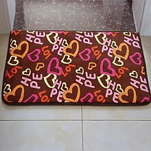PEIWENIN-Badezimmer Badezimmer saugfähige Küche rutschfeste Matten Türmatten Schlafzimmer Türmatten Haus Türmatte, 40 * 60CM, LOVE Herz