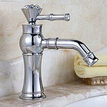 PEIWENIN-Badezimmer Badezimmer voll Kupfer europäischen Luxus Badezimmer mit Bohrbecken Becken Bassin Wasserhahn Bad Waschbecken Wasserhahn, Gewöhnlich, Silber