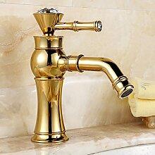 PEIWENIN-Badezimmer Badezimmer voll Kupfer europäischen Luxus Badezimmer mit Bohrbecken Becken Wasserhahn Bad Waschbecken Wasserhahn, Ordinary, golden