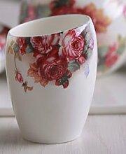 PEIWENIN-Badezimmer Kreatives Paar Spülen Tasse Pinsel Tassen Badezimmer Einfache Keramik Pinsel Tassen Waschen Tassen Hochzeit Geschenke Freunde Geschenke, ro