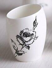 PEIWENIN-Badezimmer Kreatives Paar Spülen Tasse Pinsel Tassen Badezimmer Einfache Keramik Pinsel Tassen Waschen Tassen Hochzeit Geschenke Freunde Geschenke, Rose