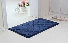 PEIWENIN-Badezimmer Küche Toilette verdickte Baumwolle Matte Bad Badezimmer Badezimmer rutschfeste saugfähige Matte Küche Türmatte, 80 * 100CM, blau