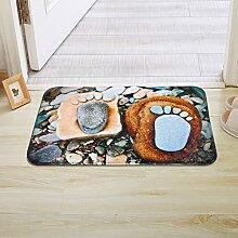 PEIWENIN-Badezimmer Matratzen große Füße Stein Tür Schiebematten Matten Tür Schließungen Tür Badezimmer Badezimmer Bad Fuß Pad, 60 * 90cm, Stein