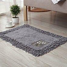 PEIWENIN-Badezimmer Matratzen Wohnzimmer Schlafzimmer saugfähige Matten Kissen Küchenmatten, 45 * 70cm, grau