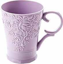 PEIWENIN-Badezimmer mit einem Griff Griff Mundwasser Tasse Paar Bürsten Tasse kreative Kunststoff Zahnbürste Tasse Spülung Tasse Hochzeit Geschenk Freunde Geschenk, lila