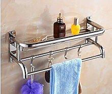 PEIWENIN-Badezimmer Toilette Badetuch Rack Edelstahl Doppelte Schicht Drei Regal Handtuchhalter Toilette Badezimmer Regal Wand Hängende Badezimmer Rahmen, 60cm, Single Layer