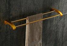 PEIWENIN-Badezimmer Toilette Badezimmer Hardware Anhänger Raum Aluminium Badezimmer Regal Bad Handtuch Rack Double Bar Handtuchhalter, Gold