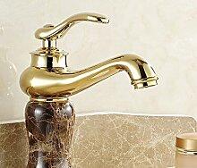 PEIWENIN-Badezimmer Toilette Europäische Badezimmer Schrank Wasserhahn heiß und kalt Waschbecken Becken Marmor Marmor Kupfer Wasserhahn, C