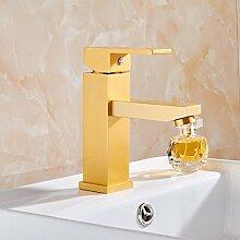 PEIWENIN-Badezimmer Toilettenraum Aluminium Gold Becken Bassin Wasserhahn Bad unter dem Waschbecken Wasserhahn