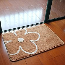 PEIWENIN-Badezimmer Wasserdichte Slip Pad Tür Pad Küche Toiletten Toilettenpapier Matten Hausmatten, 45 * 70cm, Brown Blumen