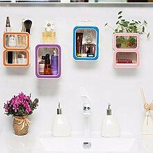 PEIWENIN-Badezimmer WC Kreativ Digital Kunststoff Bad Regal Nahtlos Saug Sauger Saug Wand Toilette Lagerung Regal, 0 lila
