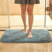 PEIWENIN-Plain Badezimmer Wasserdicht Anti-Rutsch-Fuß Pad Schlafzimmer Tür Paddel Wohnzimmer Tür Tür Pole Wohnzimmer Boden Matte, 50 * 60cm, A-Blau
