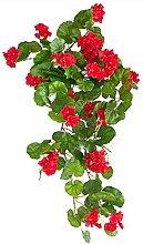 Pelargonie Geranie hängend Künstliche Pflanze Kunstpflanze 70 cm Rot Dekoration Decovego