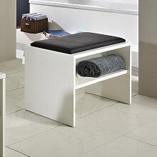 Pelipal Solitaire 6025 Sitzbank - Hocker mit Ablage und Sitzkissen in Weiß oder Schwarz- B: 600 H: 480 T: 400