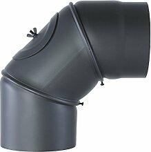Pelletrohr Bogen 90° mit Tür gussgrau Ø 150mm Ofenrohr Rauchrohr Kaminrohr