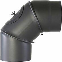 Pelletrohr Bogen 90° mit Tür gussgrau Ø 150mm verstellbar Rauchrohr Kaminrohr