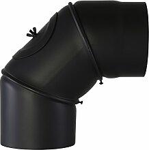 Pelletrohr Bogen 90° mit Tür schwarz Ø 120mm Ofenrohr Rauchrohr Kaminrohr