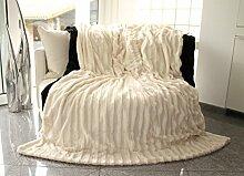 Pelzimitatdecke, creme-weiss, in schwerer doppellagiger Qualität, Hochwertige Kuscheldecke, Decke, Wohndecke, Nerzdecke, Plaid, Webpelzdecke, Tagesdecke