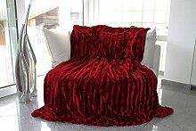Pelzimitatdecke in schwerer doppellagiger Qualität, Hochwertige Kuscheldecke, Decke, Wohndecke, Nerzdecke, Plaid, Webpelzdecke, Tagesdecke (Rot)