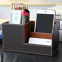 Pen kreative Modegeschäft Bürobedarf multifunktionales Desktop-Briefpapier Aufbewahrungsbox große Kapazität (20.3 * 11.1cm) ( farbe : Kaffee - farbe )
